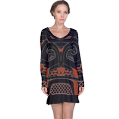 Traditional Northwest Coast Native Art Long Sleeve Nightdress by Sapixe