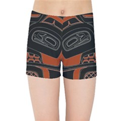 Traditional Northwest Coast Native Art Kids Sports Shorts by Sapixe