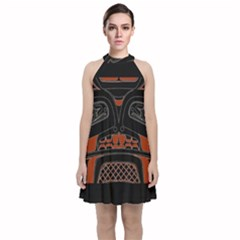 Traditional Northwest Coast Native Art Velvet Halter Neckline Dress  by Sapixe