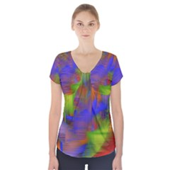 Texture Pattern Programming Processing Short Sleeve Front Detail Top