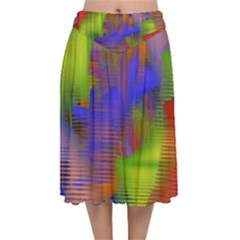 Texture Pattern Programming Processing Velvet Flared Midi Skirt by Sapixe