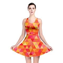 Triangle Tile Mosaic Pattern Reversible Skater Dress by Sapixe
