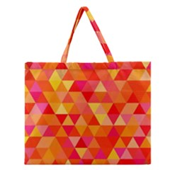 Triangle Tile Mosaic Pattern Zipper Large Tote Bag by Sapixe