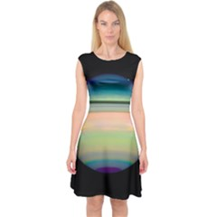 True Color Variety Of The Planet Saturn Capsleeve Midi Dress by Sapixe