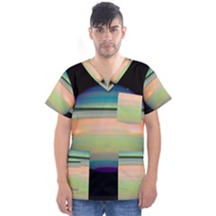 True Color Variety Of The Planet Saturn Men s V Neck Scrub Top