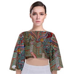 Traditional Korean Painted Paterns Tie Back Butterfly Sleeve Chiffon Top
