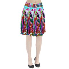 Desrt Blooming With Red Cactuses Pleated Skirt