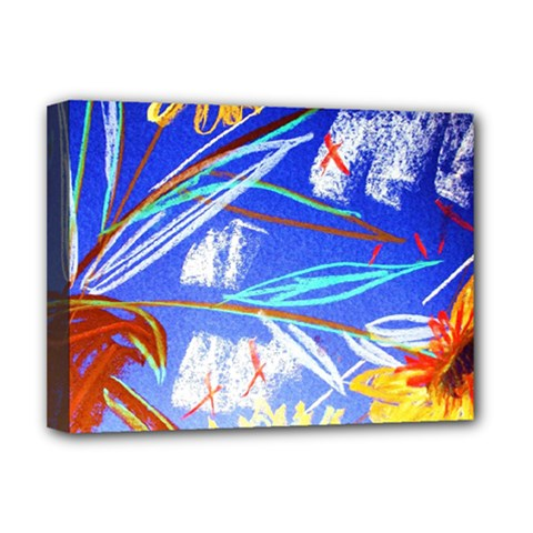 Ceramic Jur And Sunlowers Deluxe Canvas 16  X 12   by bestdesignintheworld