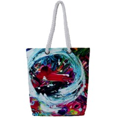 Red Aeroplane Full Print Rope Handle Tote (small)