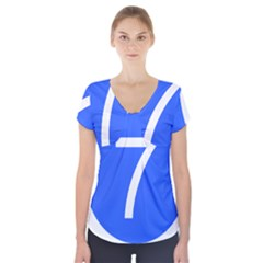 Trans–west African Coastal Highway Shield Short Sleeve Front Detail Top