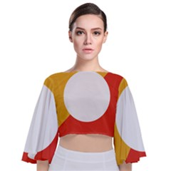 Bhutan Air Force Roundel Tie Back Butterfly Sleeve Chiffon Top
