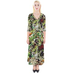 April   Birds Of Paradise 5 Quarter Sleeve Wrap Maxi Dress