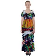 Dscf2599   Moon In Carribean High Waist Short Sleeve Maxi Dress