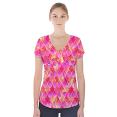 Squama Fhis Paint Flower Of Life Pattern Short Sleeve Front Detail Top