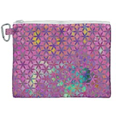 Flower Of Life Paint Purple  Canvas Cosmetic Bag (xxl) by Cveti