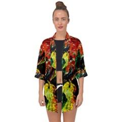 Pumpkins, Lamp And Tiger Lillies Open Front Chiffon Kimono