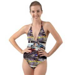 Egg In The Duck   Needle In The Egg 2 Halter Cut Out One Piece Swimsuit