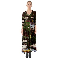 Weed Tumbler And Blue Rose Button Up Boho Maxi Dress