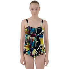 Dance Of Oil Towers 2 Twist Front Tankini Set
