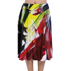 Lets Forget The Black Squere 2 Velvet Flared Midi Skirt