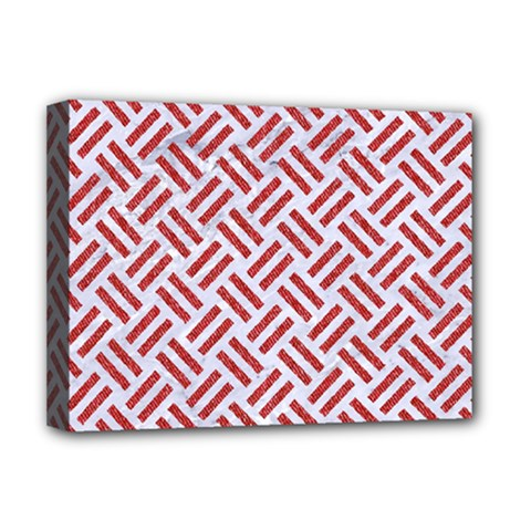 Woven2 White Marble & Red Denim (r) Deluxe Canvas 16  X 12   by trendistuff