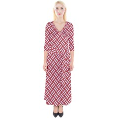 Woven2 White Marble & Red Denim Quarter Sleeve Wrap Maxi Dress