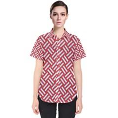 Woven2 White Marble & Red Denim Women s Short Sleeve Shirt