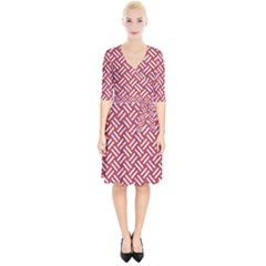 Woven2 White Marble & Red Denim Wrap Up Cocktail Dress