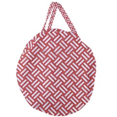 Woven2 White Marble & Red Denim Giant Round Zipper Tote