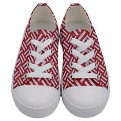 Woven2 White Marble & Red Denim Kids  Low Top Canvas Sneakers