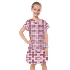 Woven1 White Marble & Red Denim (r) Kids  Drop Waist Dress