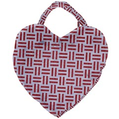 Woven1 White Marble & Red Denim (r) Giant Heart Shaped Tote