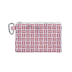 Woven1 White Marble & Red Denim (r) Canvas Cosmetic Bag (small) by trendistuff