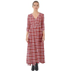 Woven1 White Marble & Red Denim Button Up Boho Maxi Dress