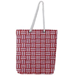 Woven1 White Marble & Red Denim Full Print Rope Handle Tote (large)