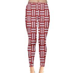 Woven1 White Marble & Red Denim Inside Out Leggings