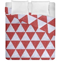 Triangle3 White Marble & Red Denim Duvet Cover Double Side (california King Size) by trendistuff