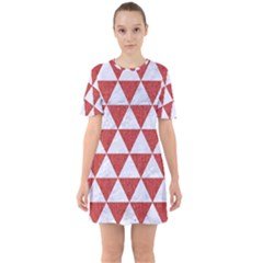 Triangle3 White Marble & Red Denim Sixties Short Sleeve Mini Dress