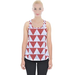 Triangle2 White Marble & Red Denim Piece Up Tank Top