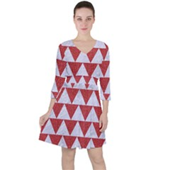 Triangle2 White Marble & Red Denim Ruffle Dress