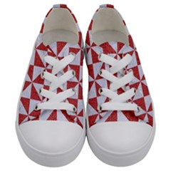 Triangle1 White Marble & Red Denim Kids  Low Top Canvas Sneakers