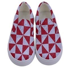 Triangle1 White Marble & Red Denim Kids  Canvas Slip Ons