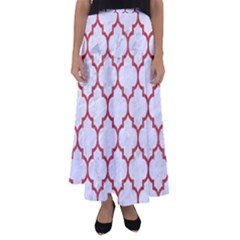 Tile1 White Marble & Red Denim (r) Flared Maxi Skirt