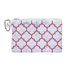Tile1 White Marble & Red Denim (r) Canvas Cosmetic Bag (medium) by trendistuff