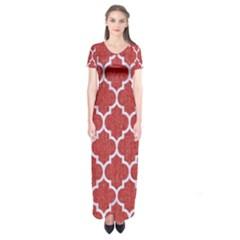 Tile1 White Marble & Red Denim Short Sleeve Maxi Dress