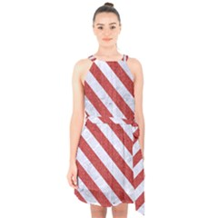 Stripes3 White Marble & Red Denim Halter Collar Waist Tie Chiffon Dress