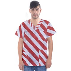 Stripes3 White Marble & Red Denim Men s V Neck Scrub Top