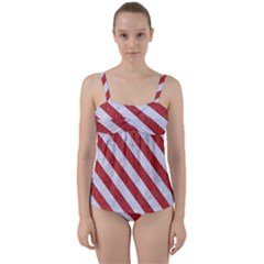 Stripes3 White Marble & Red Denim Twist Front Tankini Set