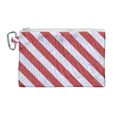 Stripes3 White Marble & Red Denim Canvas Cosmetic Bag (large)