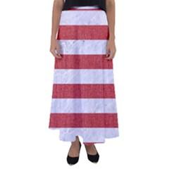 Stripes2white Marble & Red Denim Flared Maxi Skirt